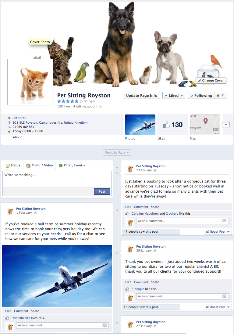 Pet Sitting Royston Facebook page